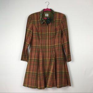 VTG Long Sleeve Plaid Button Up Dress Green NWT 12